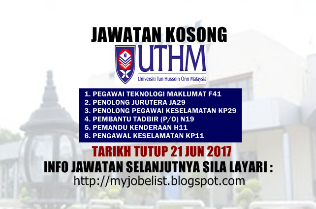 Jawatan Kosong Universiti Tun Hussein Onn Malaysia (UTHM) Jun 2017