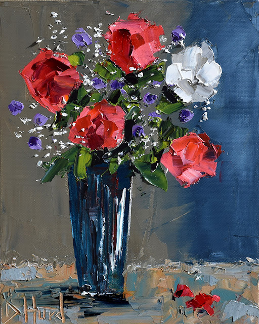 Red Roses Painting Floral Art Flowers Paintings Still Life by Debra Hurd