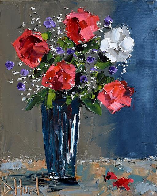 Red Roses Painting Floral Art Flowers Paintings Still Life by Debra Hurd