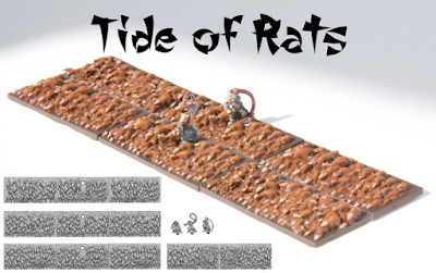 Unit consists of six bases (4cm*2cm) of rats (cast in resin) and at least two whip-masters (cast in lead-free pewter). Models supplied unpainted.