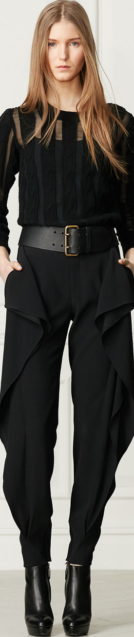Ralph Lauren Megan Ruffled Tapered-Leg Pant