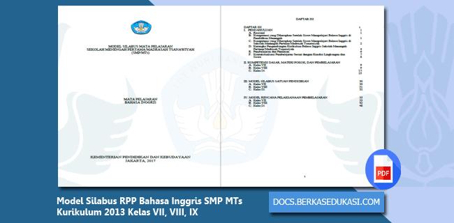 Model Silabus RPP Bahasa Inggris SMP MTs Kurikulum 2013 Kelas VII, VIII, IX