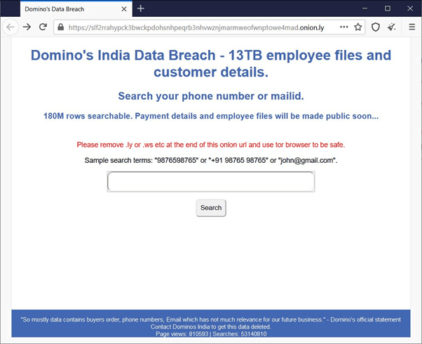 Domino's India Tor search engine