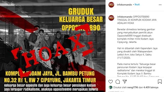 Wakapendam: Tidak Benar Pemilik Akun Opposite6890 Tinggal di Komplek Kodam Jaya