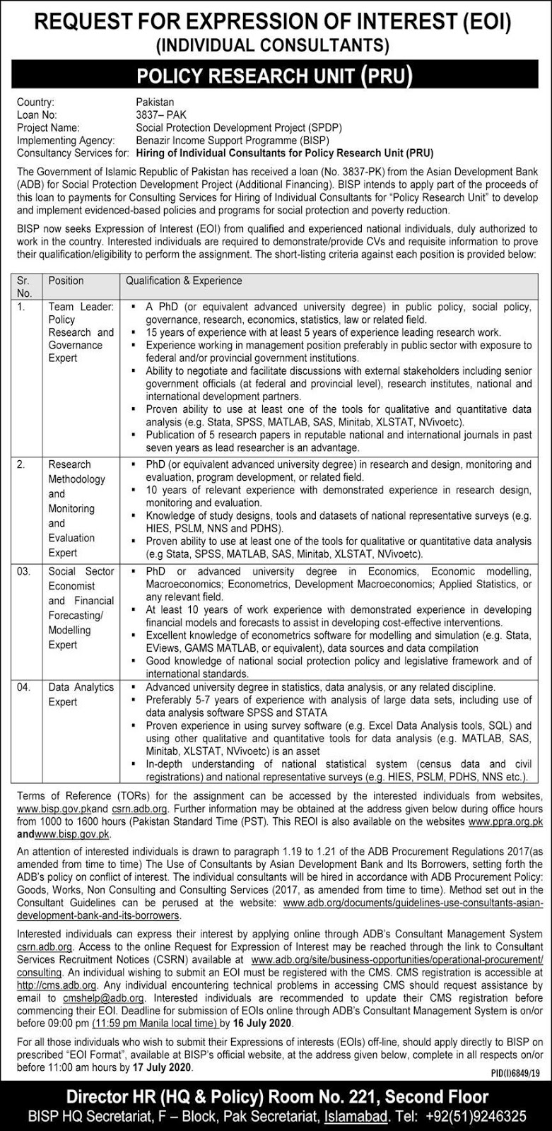 Benazir Income Support Programme Islamabad Jobs