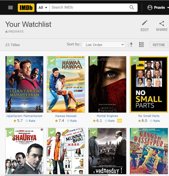 IMDB Manage your Movie watchlist