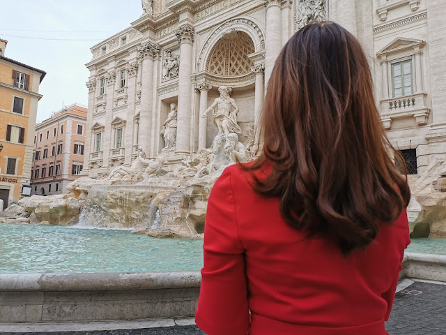 girl in red dress, trevi fountain, attractions in rome