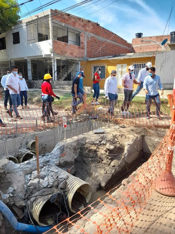 EDUS inspeccionó adelantos en la construcción de la solución pluvial para el barrio El Pando