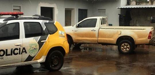 Polícia Militar recupera caminhonete roubada, prende dois suspeitos e apreende arma de fogo em Campina da Lagoa