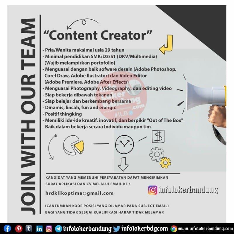 Lowongan Kerja Content Creator & Creative Design PT Klik Optima Indonesia Bandung Mei 2021