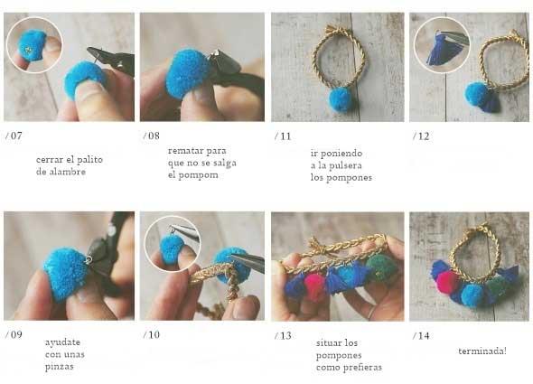 pulsera-trenza-macrame-pompones-manualidades