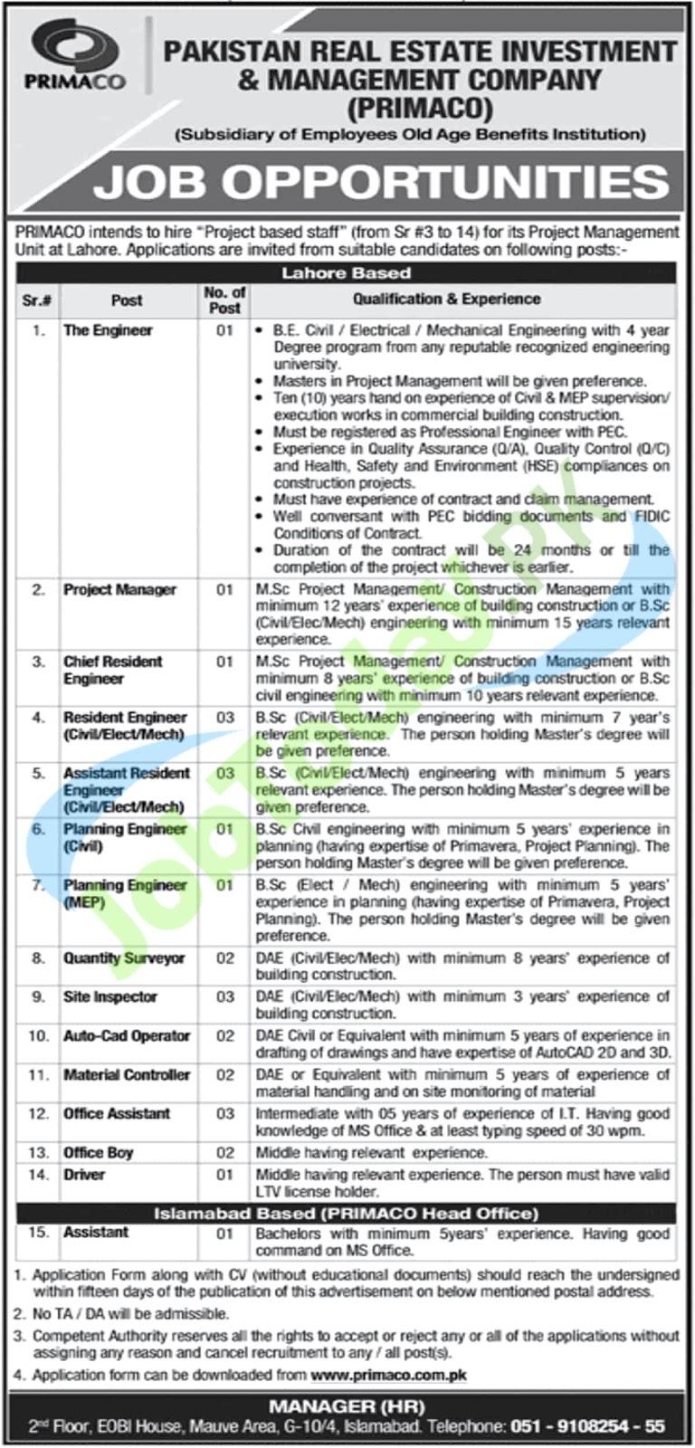 Jobs in PRIMACO Islamabad