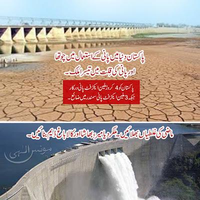 پاکستان دنیا میں پانی کے استعمال میں چوتھا اور پانی کی قِلت میں تیسرا ملک