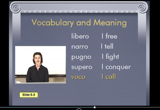 DVD screenshot of Prima Latina with vocabulary words like libero and narro