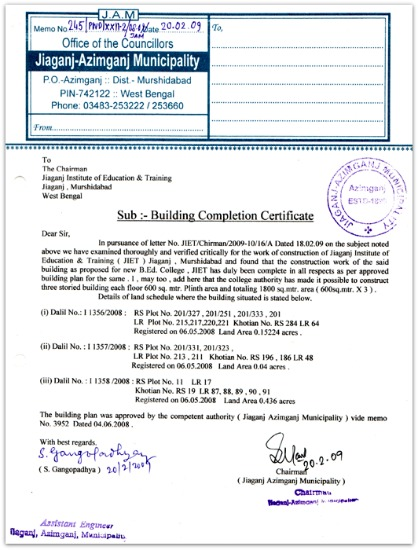Legal awareness law updates possession and commencement sample image of building completion certificate source relakhs yadclub Gallery