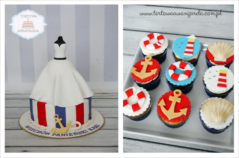 tort na wieczór panieński marynistyczny marynarski cupcakes