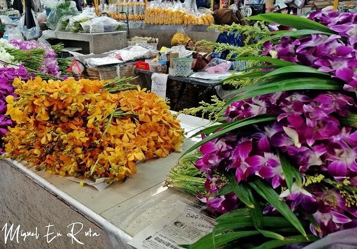 Ramos en el mercado de las flores de Bangkok
