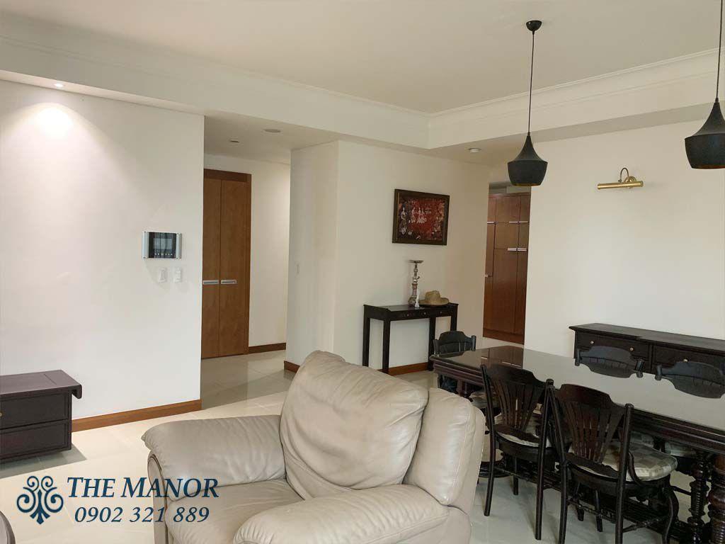 bộ sofa hướng ra cửa căn hộ the manor 1 cho thuê