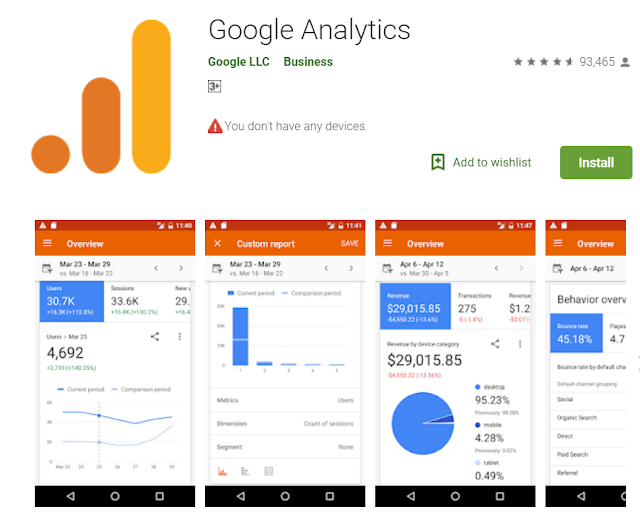 Google analytics is an android app for blogger to make easy .
