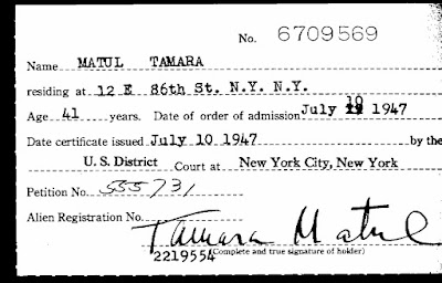 U.S. Naturalization card for Tamara Matul