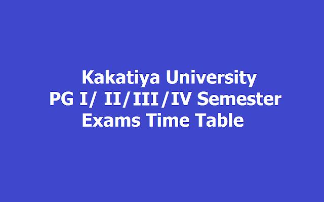 KU PG I/ II/ III /IV Semester wise Exams Time Table 2019