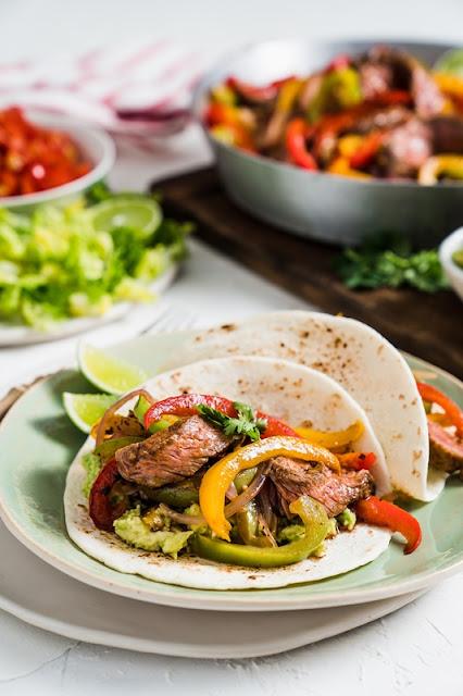 Beef Steak & Rainbow Capsicum Fajitas
