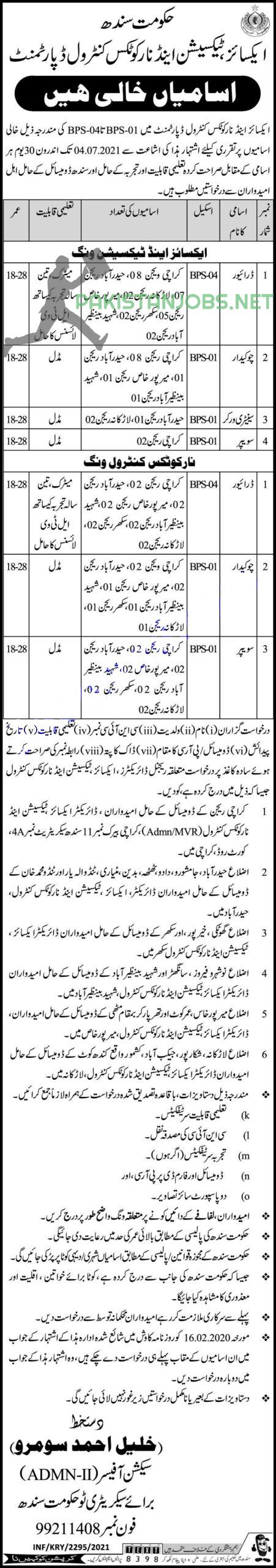 Antinortics, Excise and Taxation jobs 2021