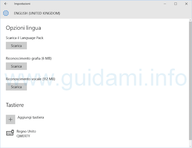 Windows 10 Opzioni language pack
