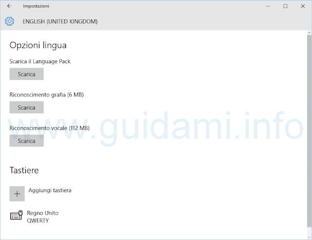 Windows 10 Opzioni language pack