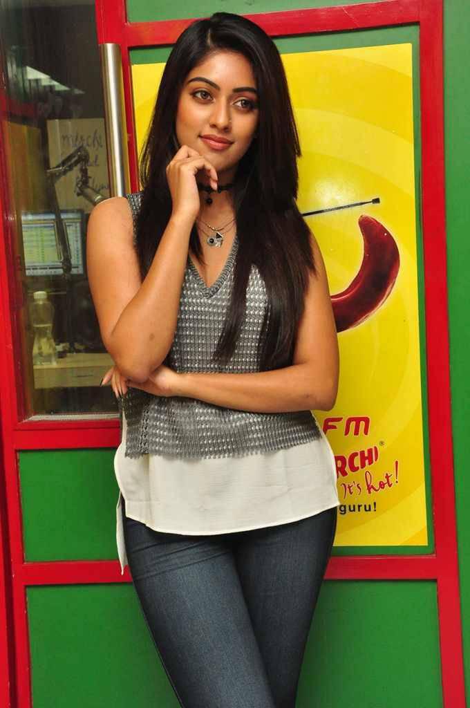 Actress Anu Emmanuel Long Hair In Blue Top Jeans