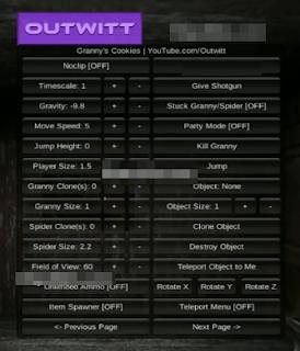 Granny 1.7.3 Outwitt Mod Menu v2.4 Hızlı Yürüme ve Ölümsüzlük Hileli indir Yeni