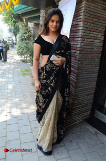 Actress Neetu Chandra Stills in Black Saree at Designer Sandhya Singh's Store Launch  0034.jpg