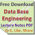 Data Base Engineering Lecture Notes PDF Download