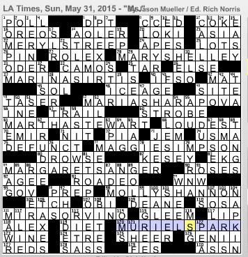 L A Times Crossword Corner Sunday May 31 2015 Jason Mueller