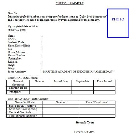 contoh format curriculum vitae pelaut