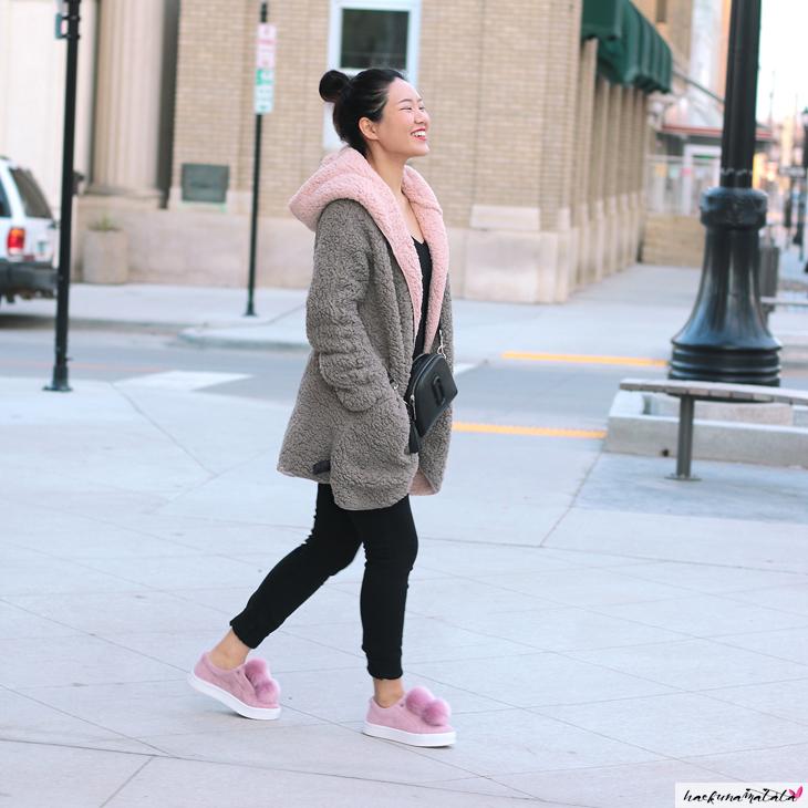Winter Fluffy Outfit, Pom Pom Shoes, Camera Bag