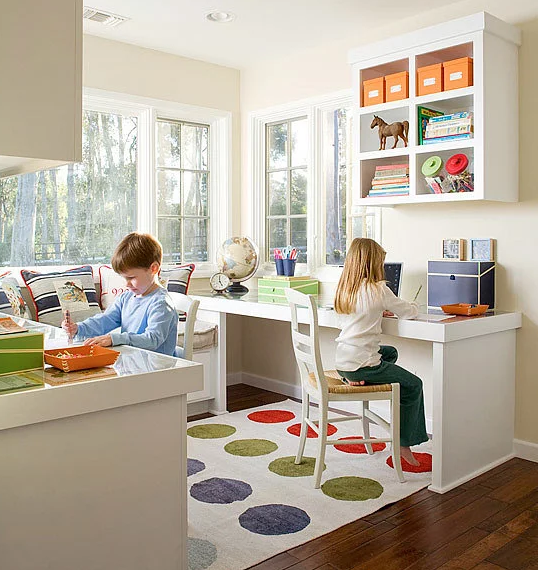 Notice elements of material, shape and height of the kid's chair and desk