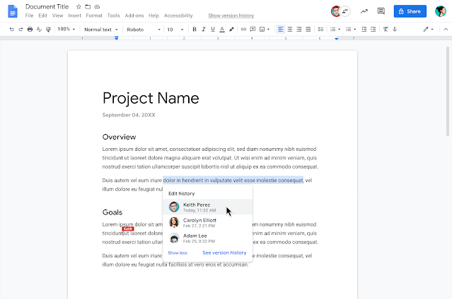 """""""Show Editors"""" provides more context on changes made in Google Docs 1"""