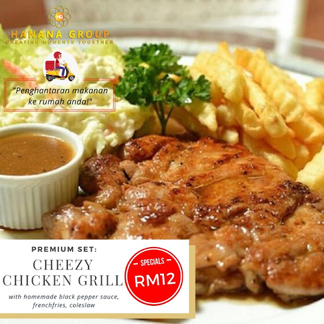 Cheezy Chicken Grill (with homemade blackpapper sauce, coleslaw) RM12