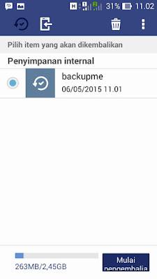 pilih item backup dan klik mulai
