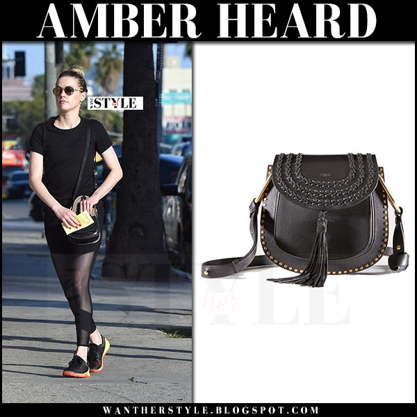 Amber Heard with black Chloe Hudson cross body bag what she wore 2017