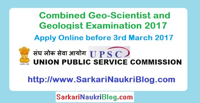 UPSC Combined Geo-Scientist and Geologist Examination 2017