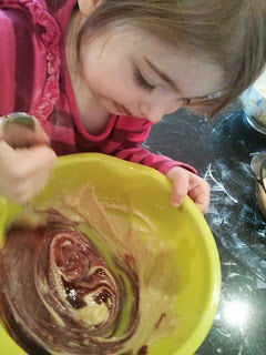 mixing the cake mix