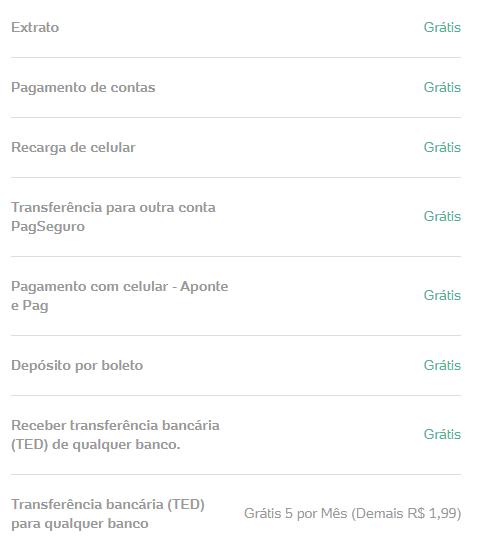 tarifas conta digital pagbank