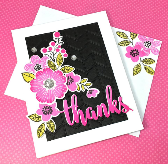 Bold Blooms stamp set and Die-namics and Thanks & Hello and Split Chevron Cover-Up Die-namics - Lynn Kramer-Put #mftstamps