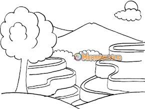 Cara mewarnai gambar pemandangan gunung untuk anak TK dan PAUD