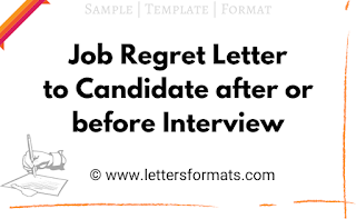 regret letter to candidate after interview