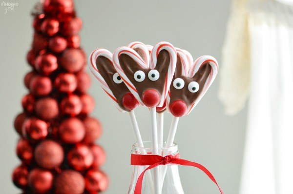 Candy Cane Reindeer Pops from Finding Zest