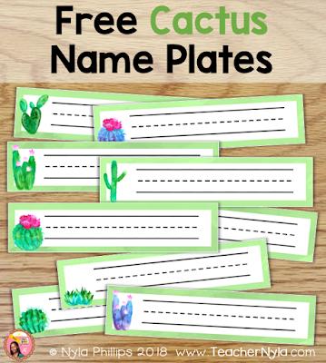 Free Cactus name plates