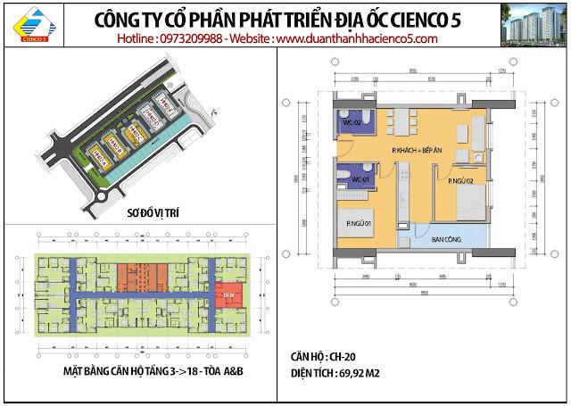 Mặt bằng căn hộ CH20 tầng 3-18 tòa HH02A&B